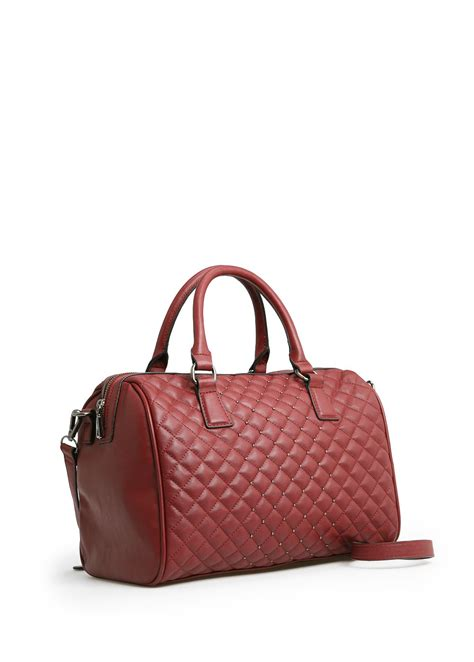 Mango Quilted Bag lyst mango quilted bowling bag in brown