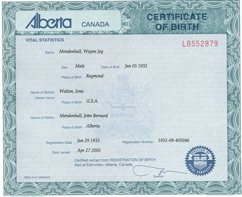 Alberta Canada Birth Records Wayne Mendenhall Birth Certificate Born June 5 1932