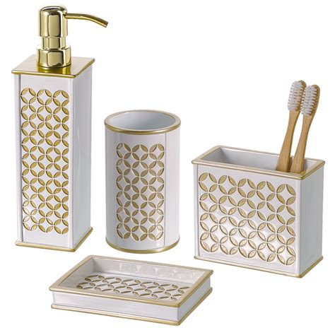 4 piece bathroom accessories set dispenser toothbrush