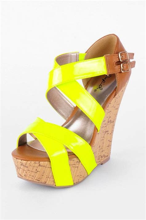 neon yellow wedges shoes