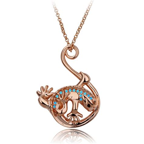 js n222 lizard necklace gold necklace animal jewelry