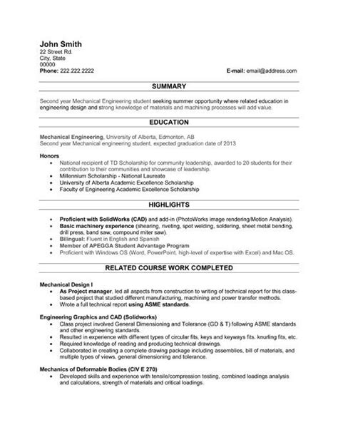 resume exles for college students engineering 42 best images about best engineering resume templates sles on resume templates