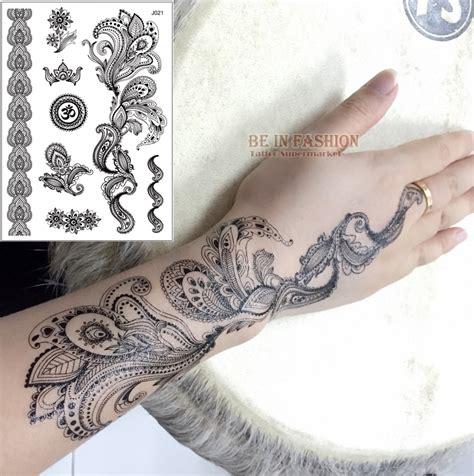 1sheet black white henna taty fake lace tattoo stickers