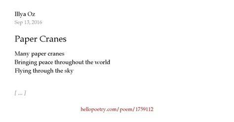 Betania Syari paper cranes by illya oz hello poetry
