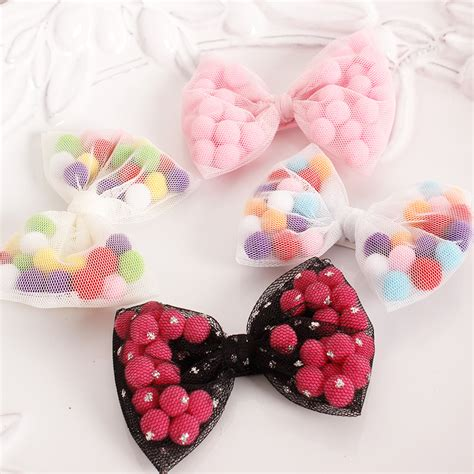 pomeranian with bow pom poms gauze bow hair colorful cotton big bow knot baby hairpin 10x8cm