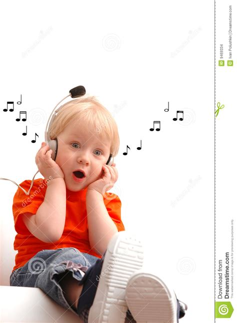 child song child of 2 years listening stock images image 9469334