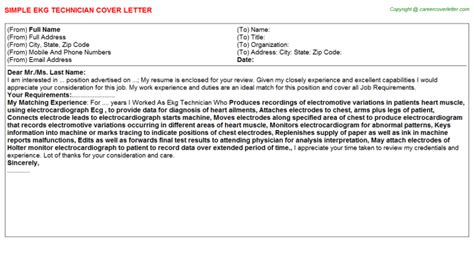 Electrocardiograph Technician Cover Letter by Ekg Technician Cover Letter Sle