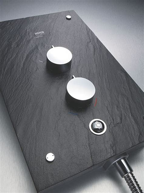 Designer Kitchen Taps Uk by 9 8kw Thermostatic Electric Shower With Slate Fascia Mira