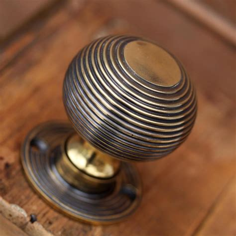 Antique Pine Bathroom Cabinets - brass beehive door knobs