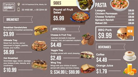 restaurant menu templates free download