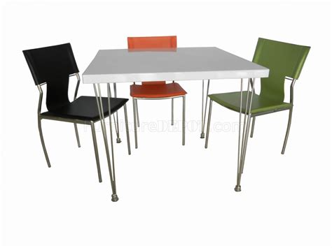 white finish top modern square dining table w metal legs