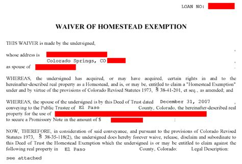 waiver of homestead why am i signing this