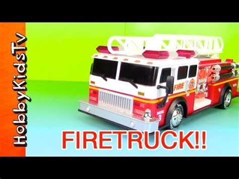 toy fire trucks with lights and sirens fire truck toy sirens toy review hobbykidstv youtube