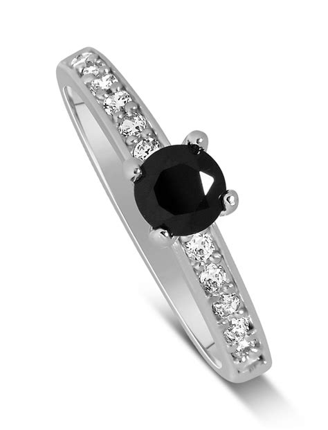 1 carat unique black and white engagement