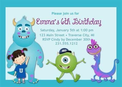 Invitation Inc monsters inc birthday invitation birthday invitation birthday