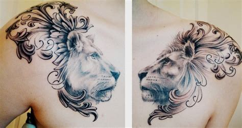 chest tattoo being done lion and lioness chest piece done by matt cowell at house