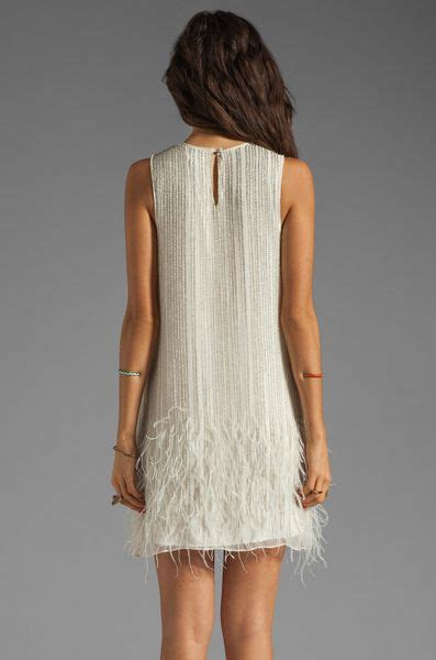 beaded feather dress allegra feather beaded dress in linen in white lyst