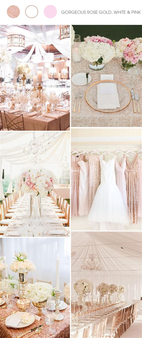 wedding themes rose gold shades of metallic and white wedding color ideas and