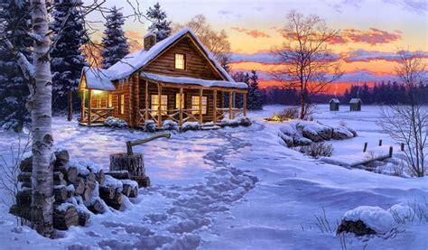 log cabin painting free wallpaper free