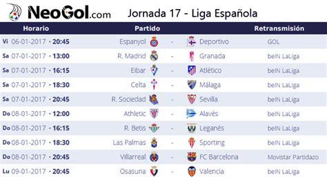 Calendario Dela Liga Española 2017 Jornada 17 Liga Espa 241 Ola 2016 Laliga Santander