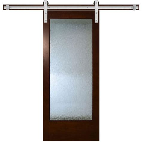 Pine Sliding Closet Doors Steves Sons 36 In X 84 In Modern Lite Glass Stained Pine Interior Barn Door With