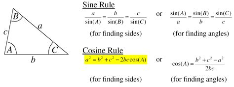 Sinus Formula section 4 sine and cosine rule