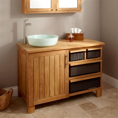 Bathroom Furniture Wood Take Advantages Of Teak Wood To Be Used As Furniture In Bathroom Orchidlagoon