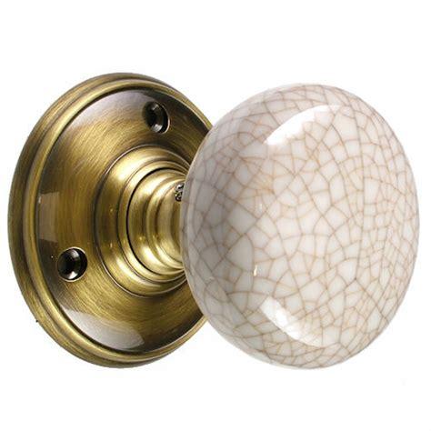 mortice door knobs porcelain ivory crackle knob