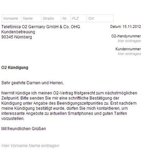 Kündigung Muster Handyvertrag O2 O2 K 252 Ndigungsschreiben Handyvertrag