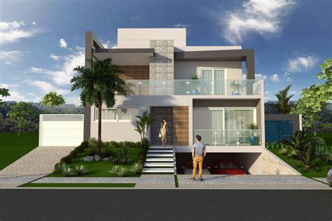 casa minimalista moderna 20 foto projeto casa sobrado fachada moderna reta garagem subsolo
