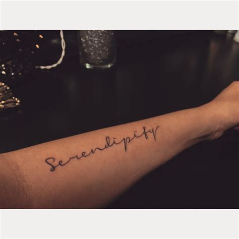 female tattoo placement serendipity placement arm girly script