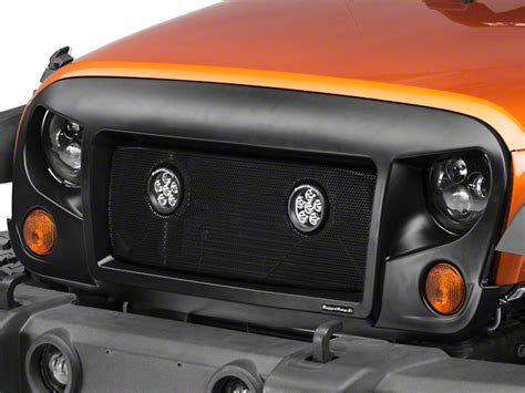 rugged ridge mesh grille insert rugged ridge wrangler spartan mesh grille insert w 3 5 in led lights j105076 07 17 wrangler