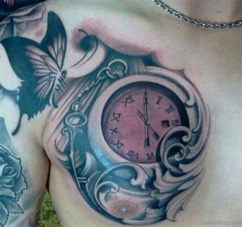 tattoo chest clock 64 mind blowing clock tattoos for chest