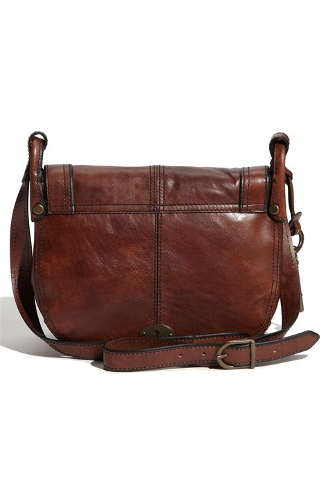 lyst fossil leather crossbody bag in brown