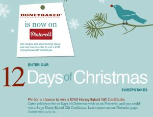 Honeybaked Ham Gift Cards Costco - honeybaked 12 days of christmas pinterest promotion win a 250 honeybaked gift card
