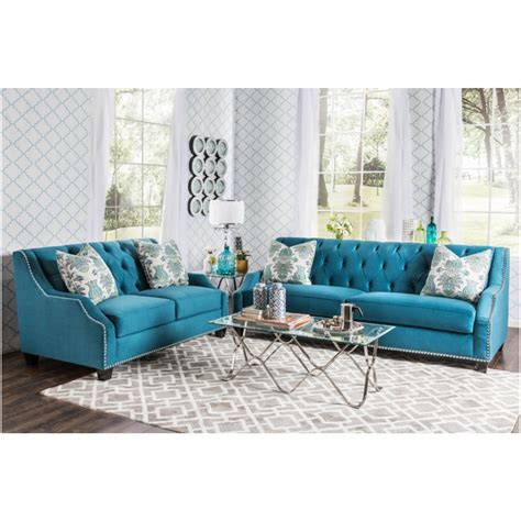 furniture of america living room collections 2 pc celeste collection azure blue premium fabric