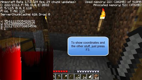 how to your to be a show minecraft how to show coordinates and view yourself from a distance