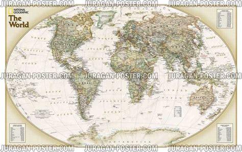 Poster Peta Dunia Hiasan Dinding nat geo world map jual poster di juragan poster