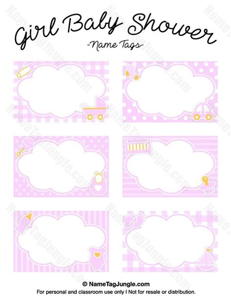 free printable girl baby shower name tags the template