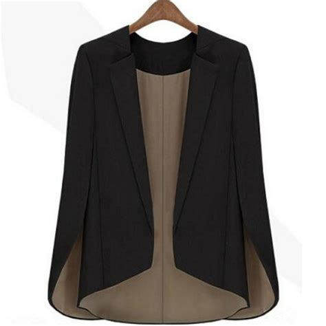 Cape Blazer Jacket Jaket fashion new s basic coat slim suit black jacket runway shawl cape blazer in blazers