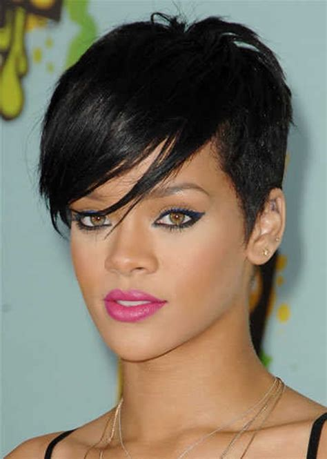 rihanna short straight casual pixie hairstyle black how to fake stylish faux pixie haircut with your long hair