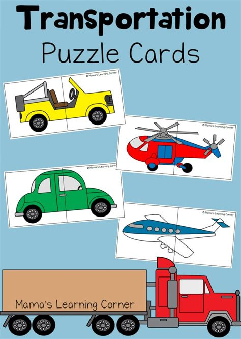 a to z of transportation themed crafts and transportation puzzle cards for preschoolers mamas learning corner
