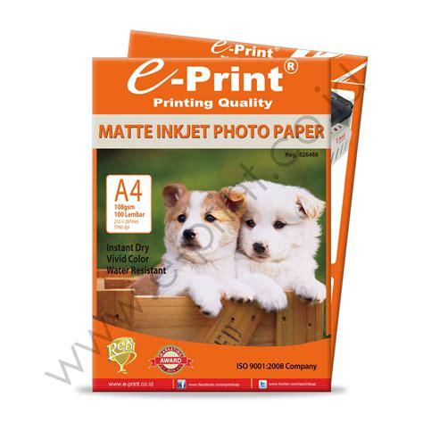 Kertas Foto Matte matte inkjet photo paper a4 108gsm 100sheet e print