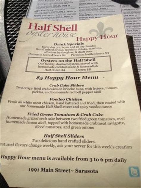 shell house menu happy hour menu picture of half shell seafood house sarasota tripadvisor