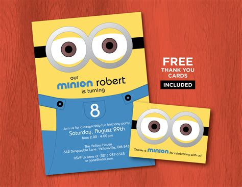 minion card template printable minion birthday invitations personalized