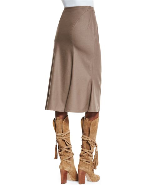pink pony a line bias cut skirt in brown lyst