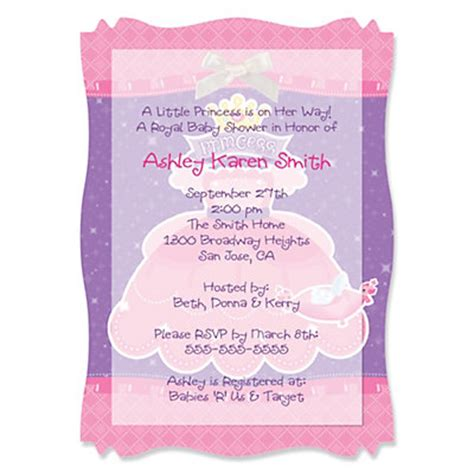 Baby Shower Invitations Princess Theme by Pretty Princess Personalized Baby Shower Vellum