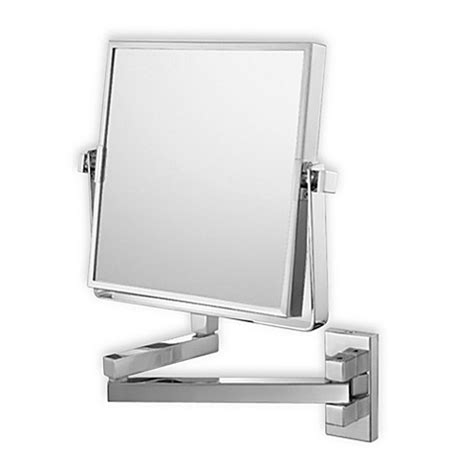 Bed Bath And Beyond Bathroom Mirrors Mirror Image Square Arm 3x 1x Wall Mirror With Brushed Nickel Finish Bed Bath Beyond