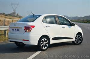 Xcent Hyundai Review Hyundai Xcent Review Rear Quarter Indian Autos