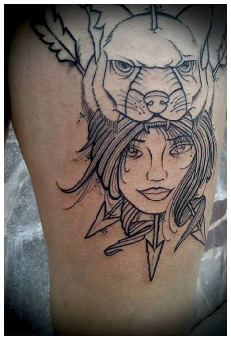 Tattoo Girl Animal Head | outline animal head and girl tattoo design tattooshunt com